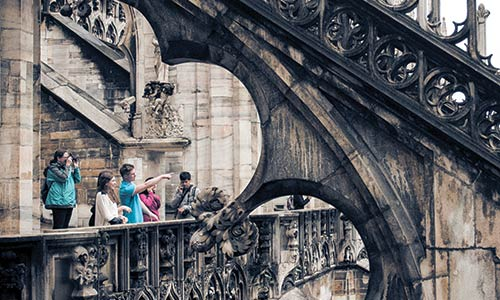 Students on the roof of the Milan Cathedral