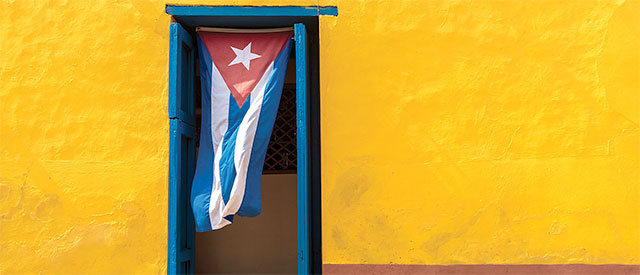 Cuban flag hanging in a doorway