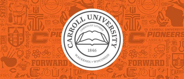 Carroll University seal on heritage background