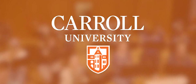 Carroll University logo over orange