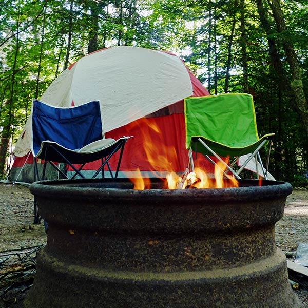 camping site set up with rented Carroll University equipment