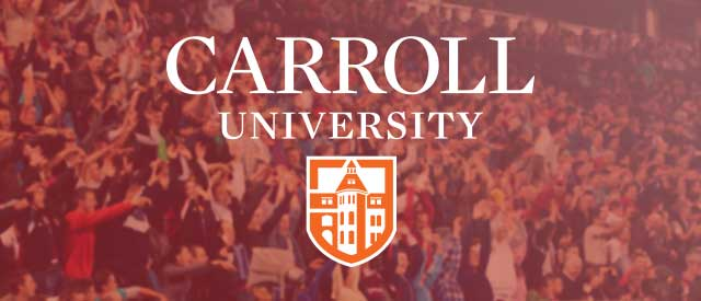 Carroll Logo over blurry basketball fans